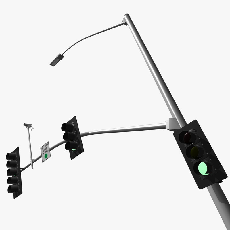 california traffic signal 3d model