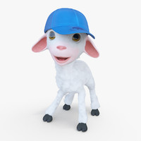 3d model of cartoon boy lamb rigged