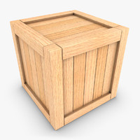 3d realistic wooden box 01 model