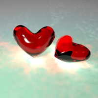 glass hearts 3d model