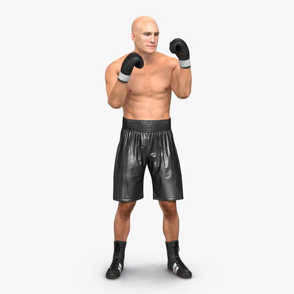 adult boxer man rigged 3d model