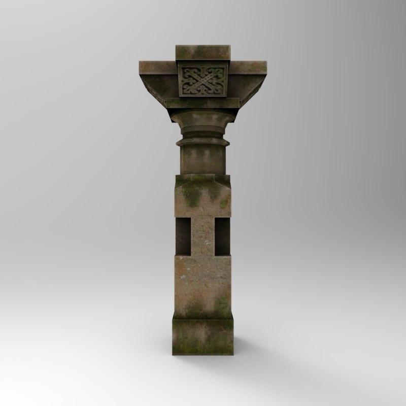 3d model stone pillar 1