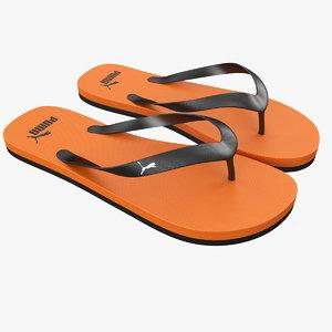 3d puma flip-flops orange model