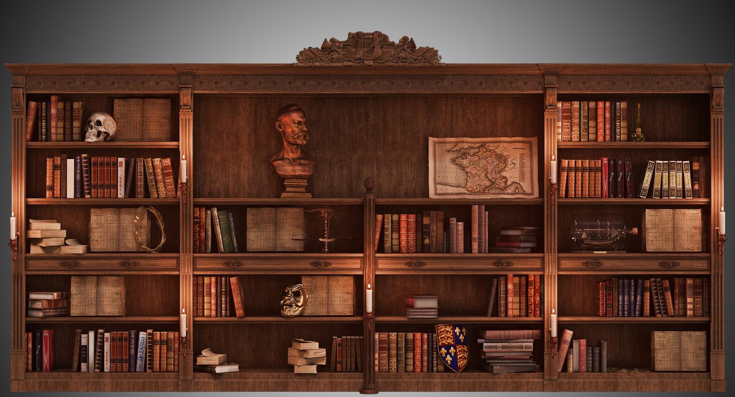 3d model library books lighting
