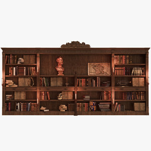 3d model library books lighting