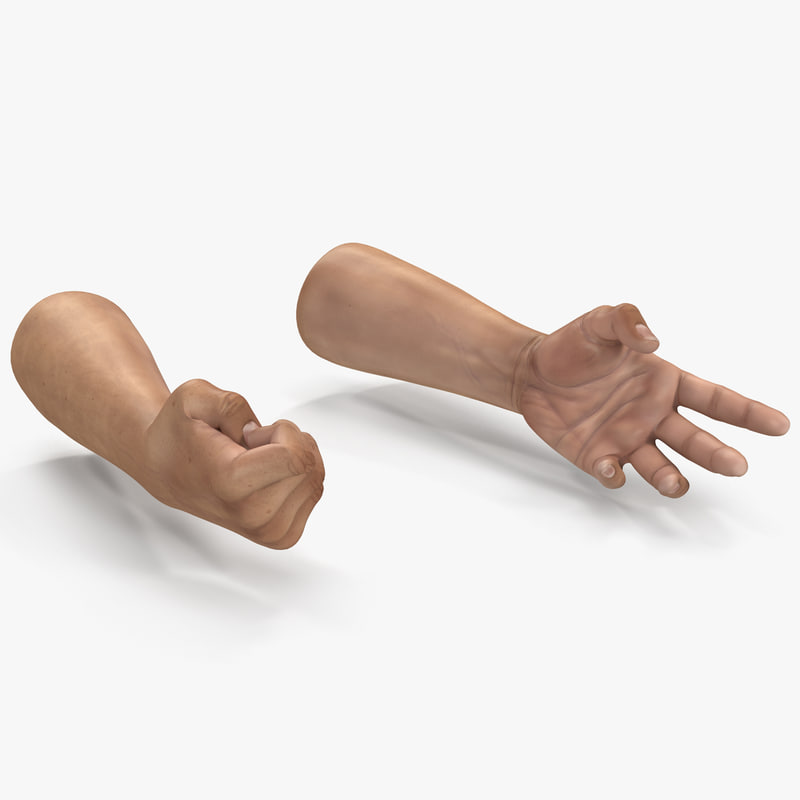 3d model man hands 2 rigged