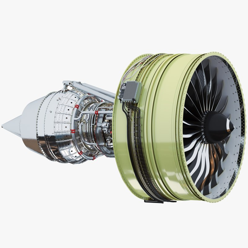 turbofan aircraft engine 3d model