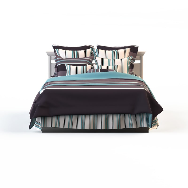 3d linens strip bed calico model