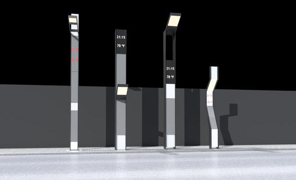 3d model modern street lamps