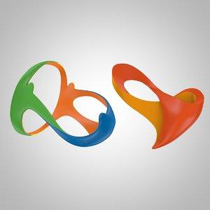 3d model paralympics rio 2016 logo