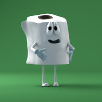 toilet paper character rigged 3d model