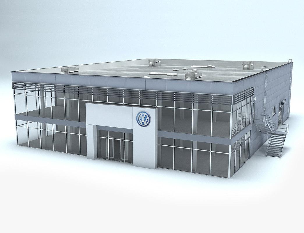 3d volkswagen dealership showroom model