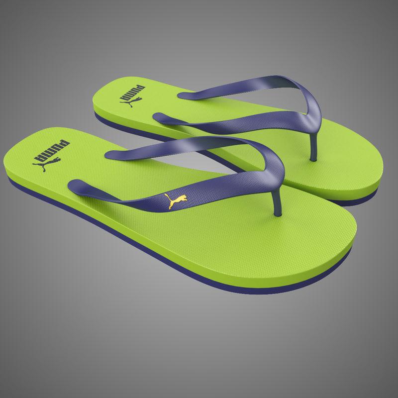 3d puma flip-flops green model