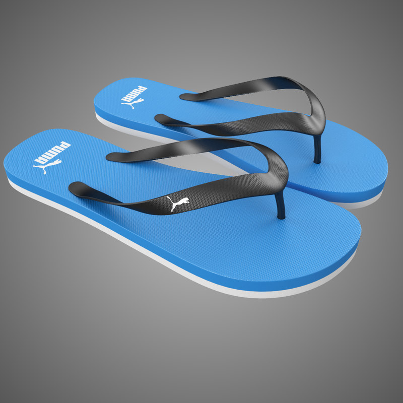 3d puma flip-flops blue model