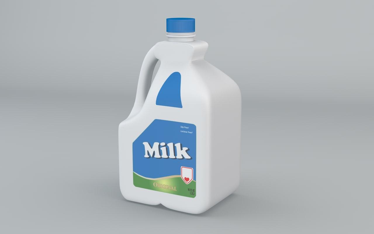 3d plastic milk model