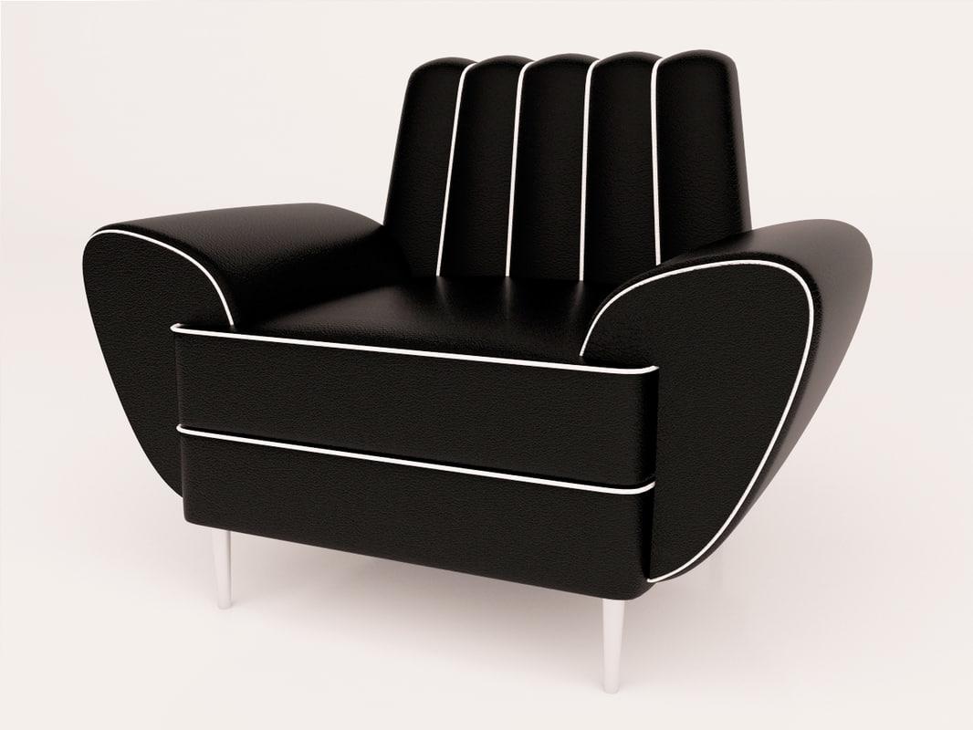 3d max black armchair