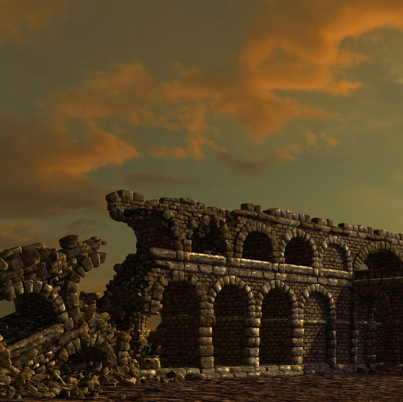 roman arcway collapsed 3d model