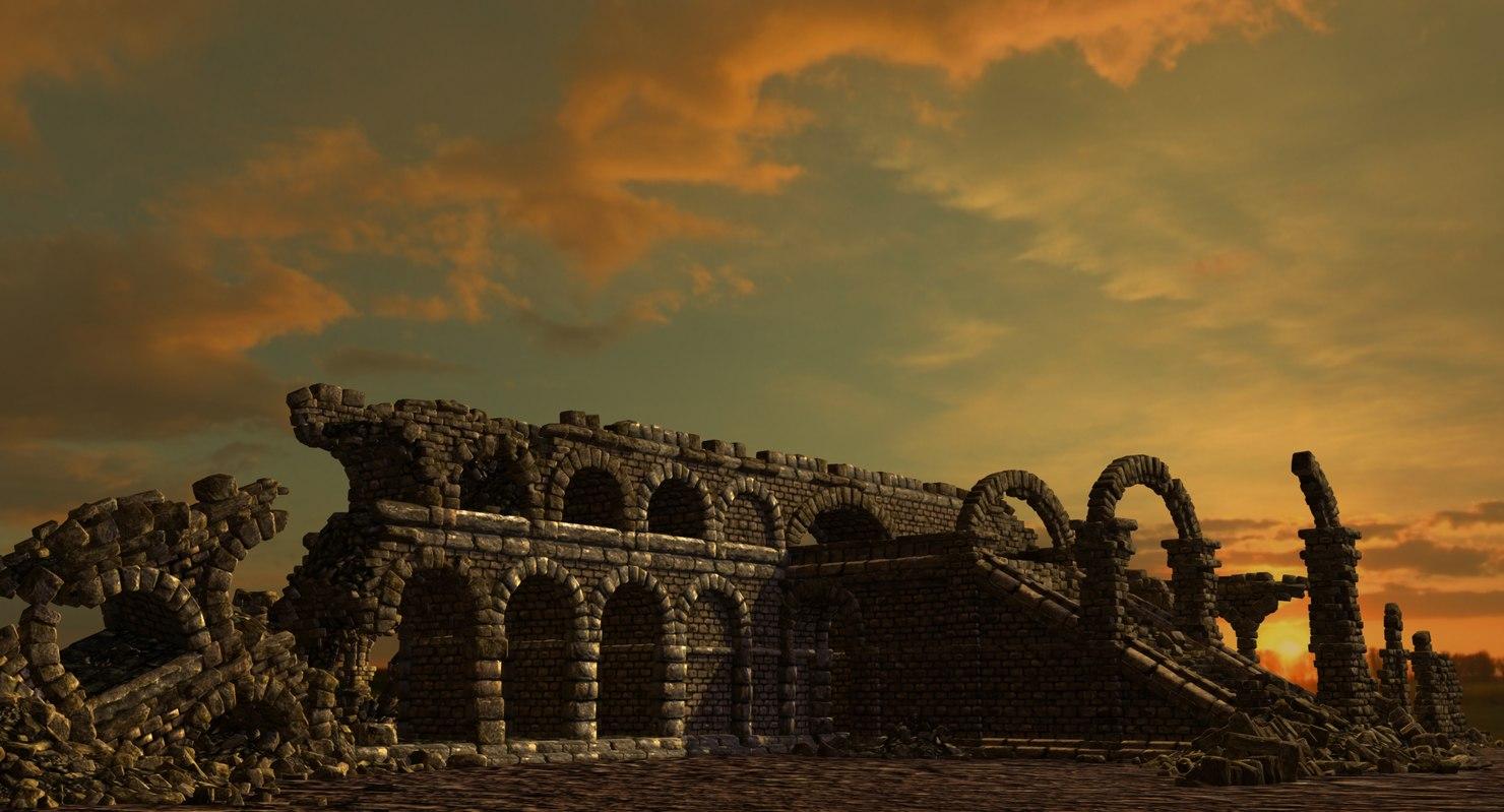 roman arcway collapsed 3d model