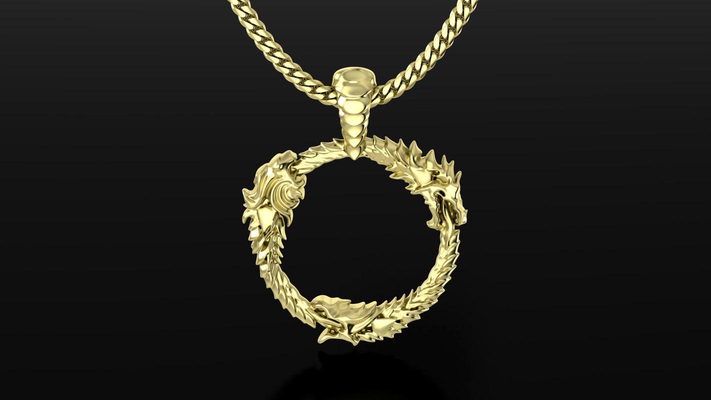 3d gold pendant