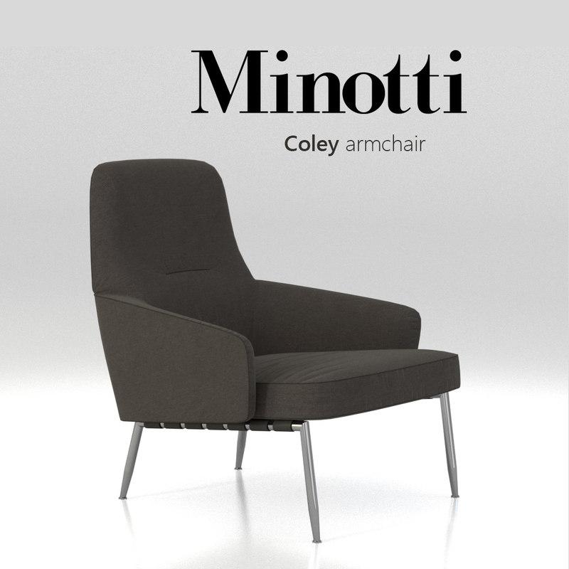 3d chair minotti coley armchair model