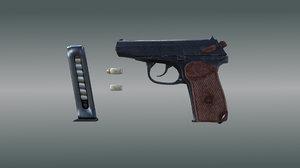 9mm gun 3d model