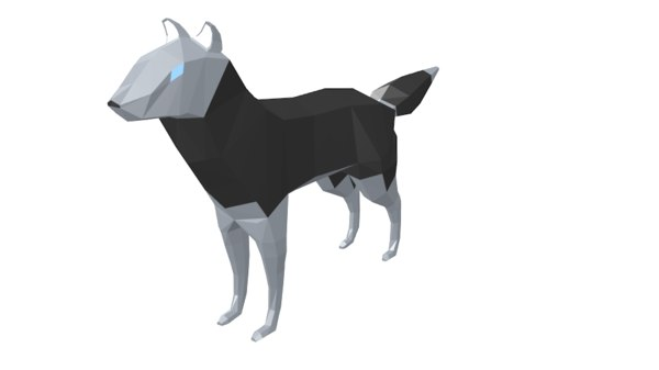 3d low-poly wolf model