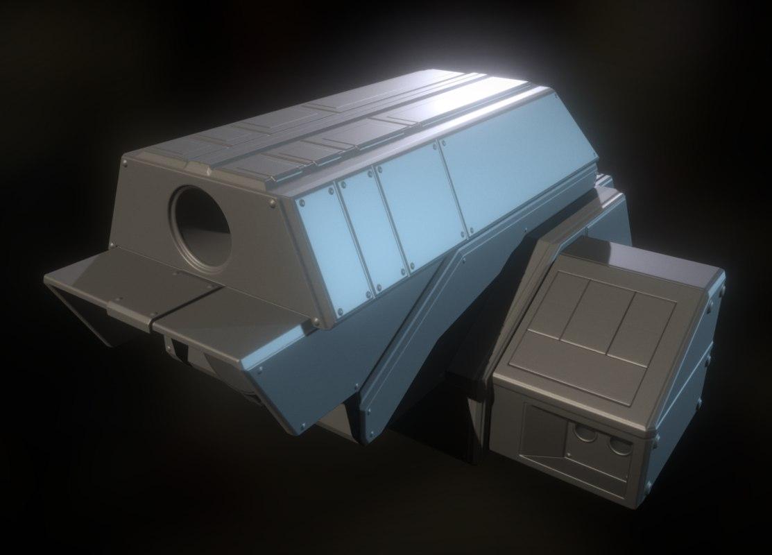 version laser gun module 3d model