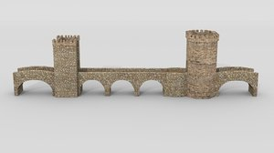 3d medieval stone bridge model