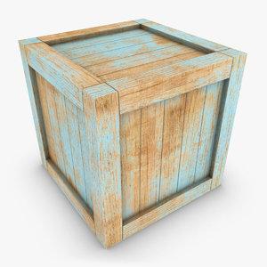 realistic wooden box 01 3d model