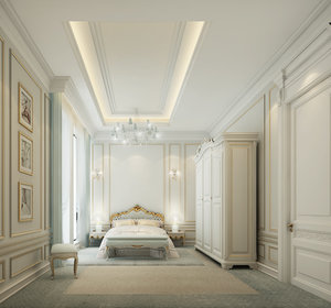 3d model classic bedroom scene