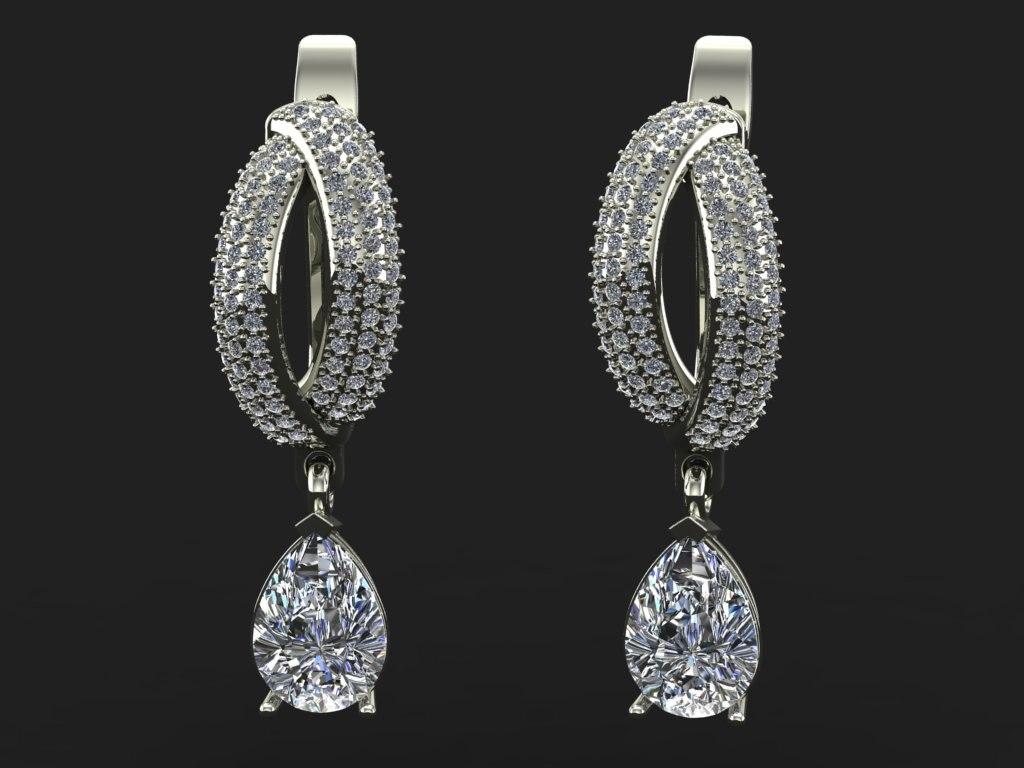 3dm earrings stone pear