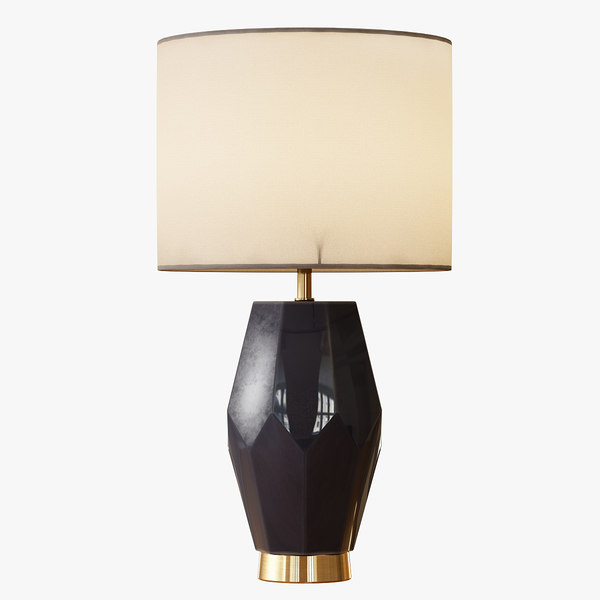 faceted stone table lamp 3d obj