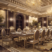 realistic formal dining room 3d model