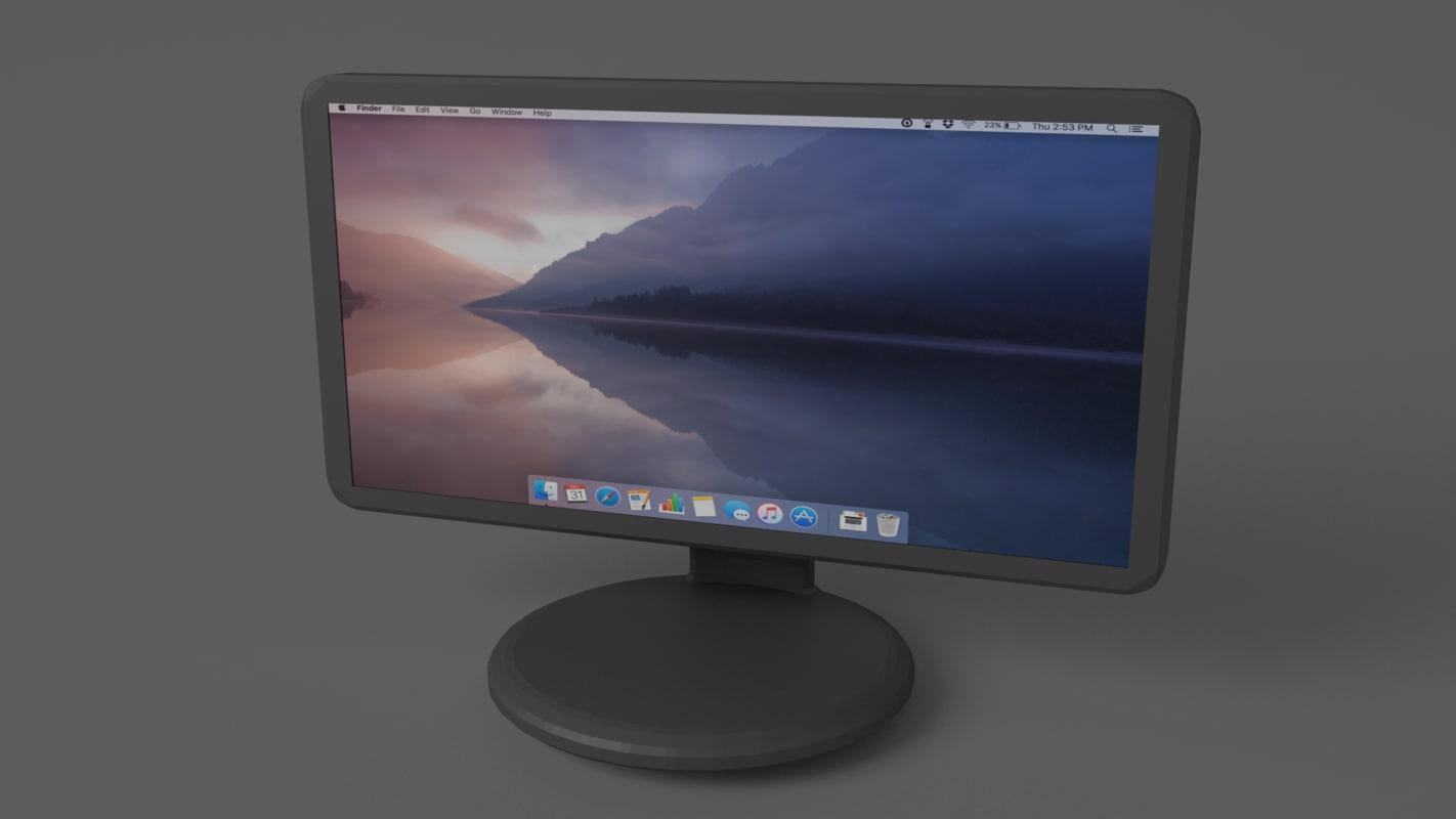 3d model basic computer monitor