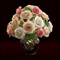 3d model roses arranged vase