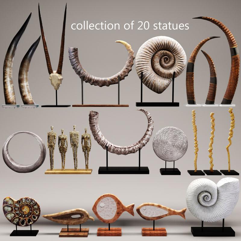 set sculptures 3d model