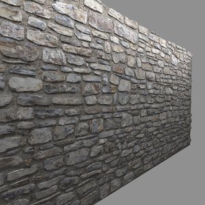 3d model masonry stone wall 2