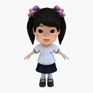 3d model pink girl