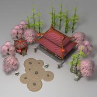 3d oriental garden model