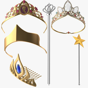 princess tiaras ariel 3d model