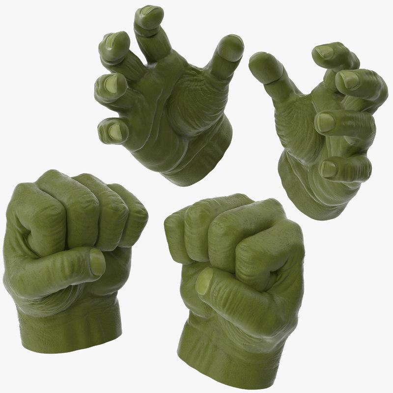 hulk hands opened closed 3d max