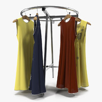 Round Clothing Rack 3 3D Model