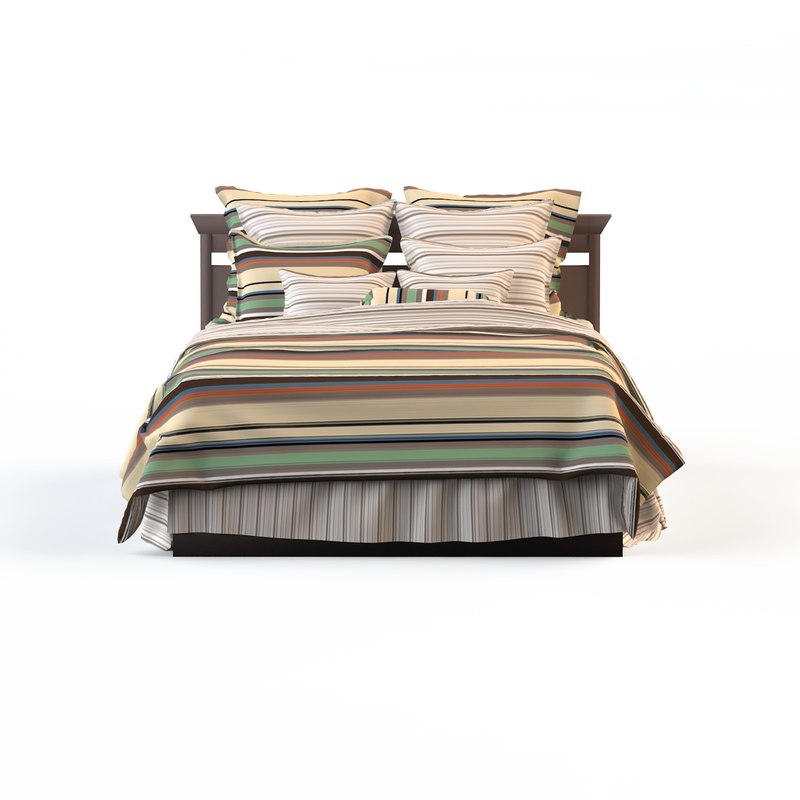 linens strip bed calico obj