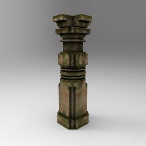 3d stone pillar 3 model