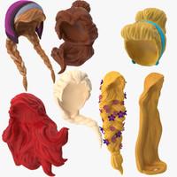 7 princess wigs 3d model