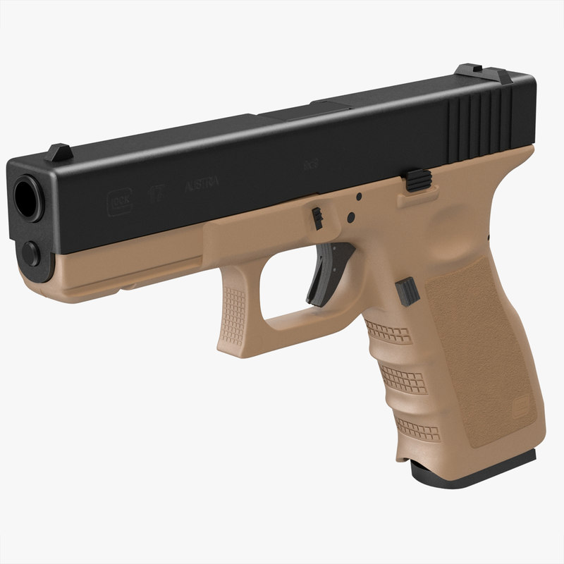 glock 17 brown 3d model