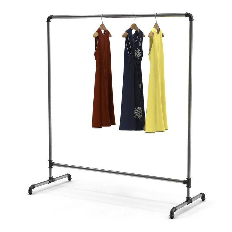 iron clothing rack 4 obj