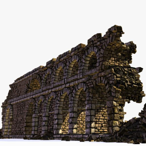 3d model ancient archway walls