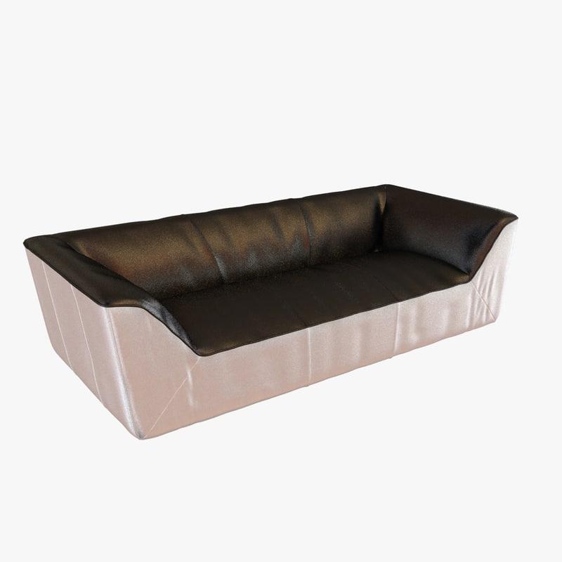 3d model sofa black white leather