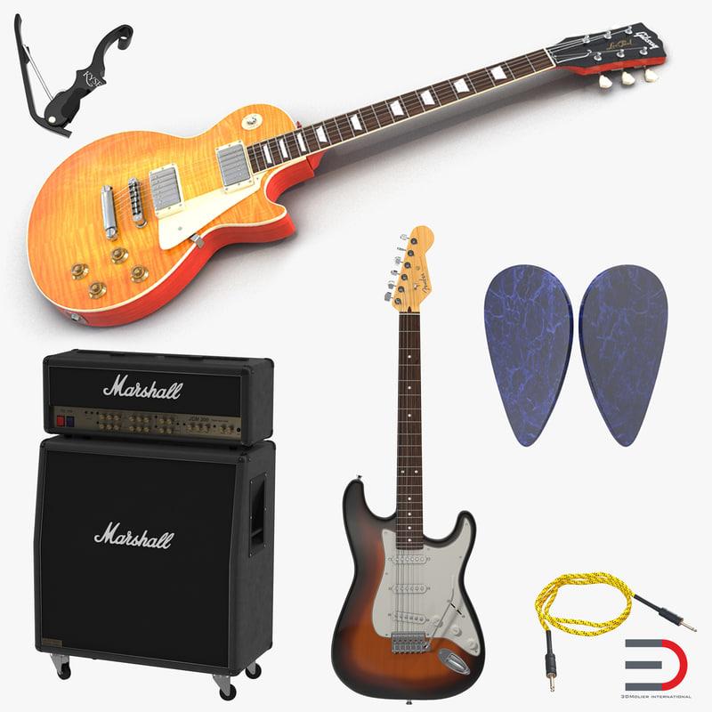 guitar equipment pick capo 3d 3ds